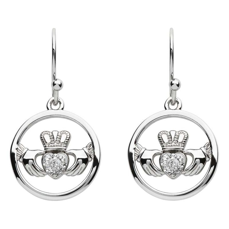 Platinum Plated Claddagh Drop Earrings Circle And Heart With Clear Swarovski Crystals