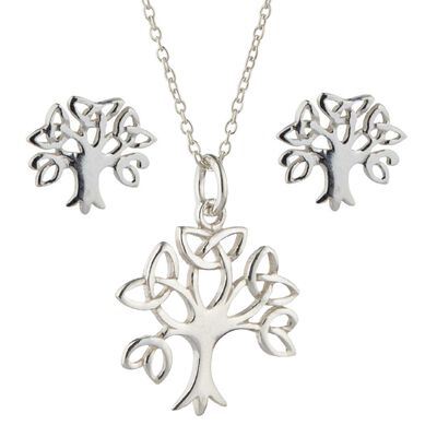 Hallmarked Sterling Sliver Set Of Tree Of Life Earrings and Pendant
