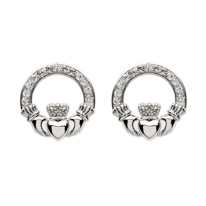 Platinum Plated Claddagh Stud Earrings With Clear Swarovski Crystals