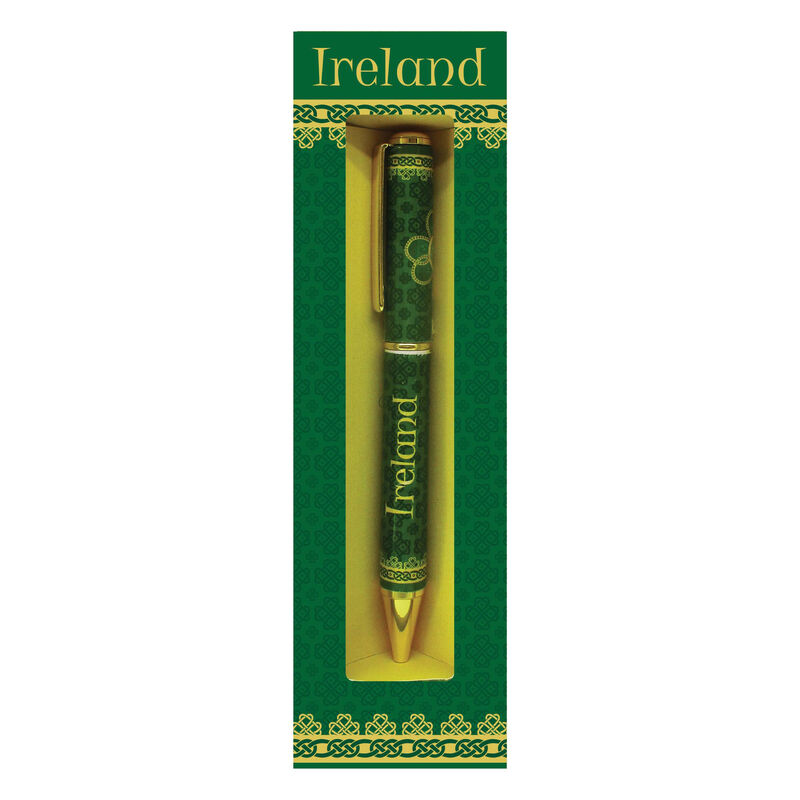 Shamrock Spiral Ireland Pen With A Green And Yellow Celtic Design