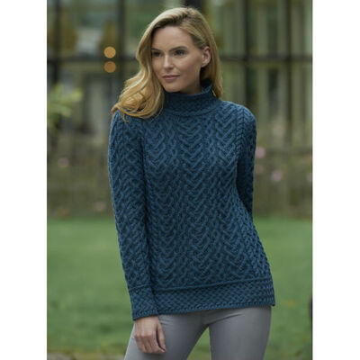 High Neck Cable Aran Sweater, Teal Colour
