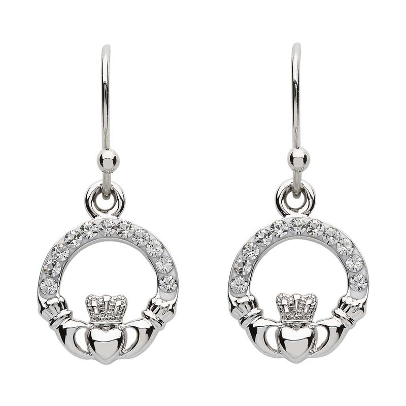 Platinum Plated Claddagh Drop Earrings With Clear Swarovski Crystals