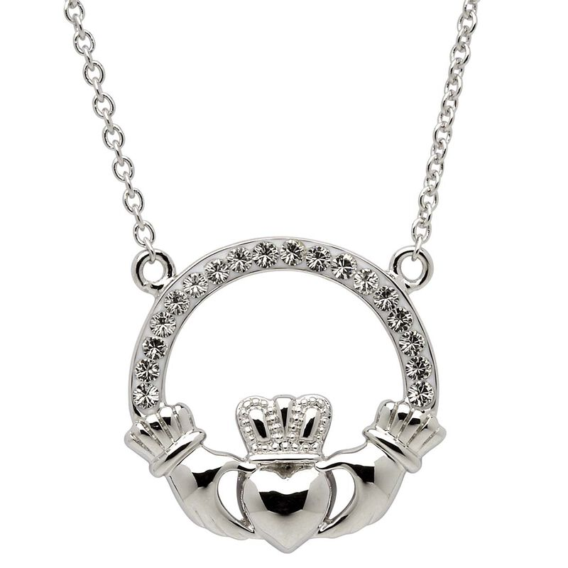 Platinum Plated Claddagh Pendant With Clear Swarovski Crystal