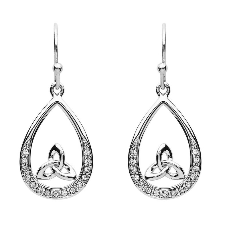 Platinum Plated Pear Drop Trinity Earrings With Clear Swarovski Crystals