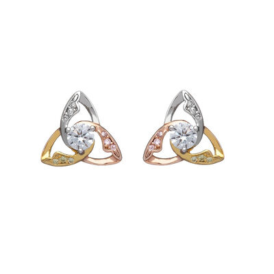 Hallmarked Sterling Silver Trinity Knot Three-Tone Stud Earrings
