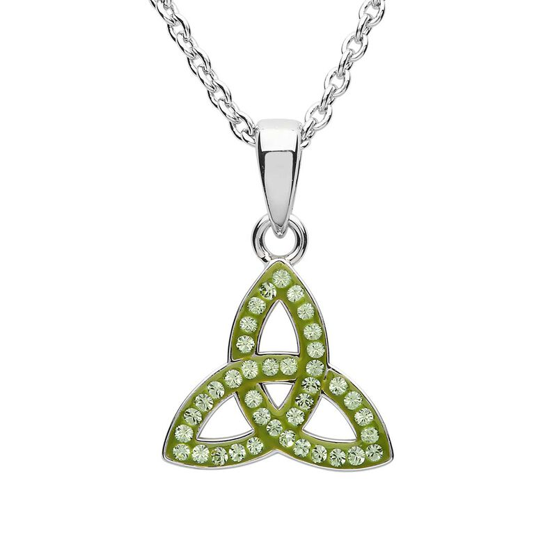 Platinum Plated Trinity Knot Pendant Wth Peridot Swarovski Crystals Domed