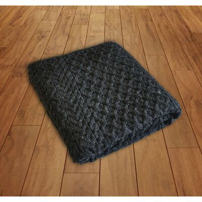 100% Wool Blanket With Honeycomb Knitted Design  Charcoal Colour