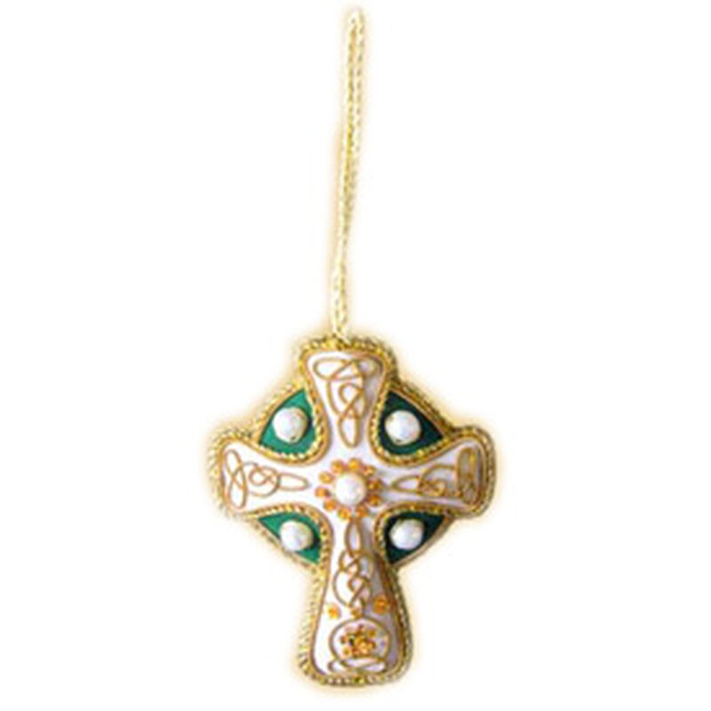 High Cross Shaped Hanging Christmas Decoration With Gold Celtic Needlework