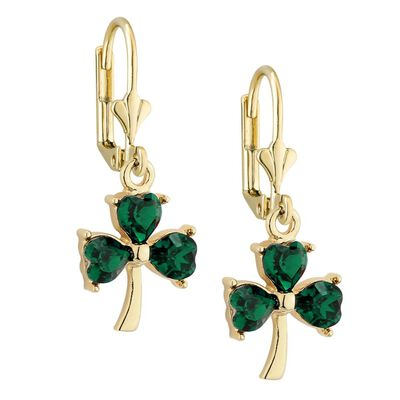 Gold Plated Green Irish Crystal Shamrock Designed Drop Earrings