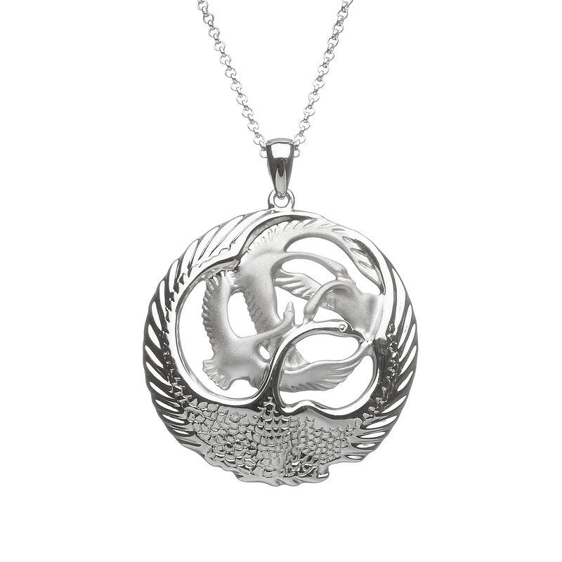 Hallmarked Sterling Silver Children of Lir Large Round Pendant