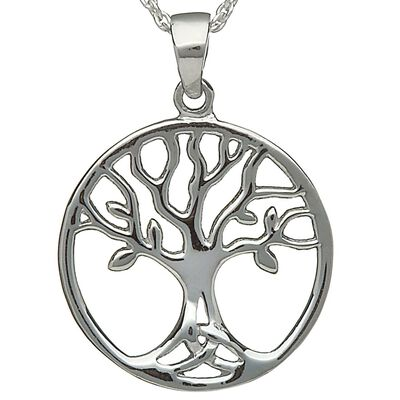 Hallmarked Sterling Silver Pendant With Simple Tree Of Life Design