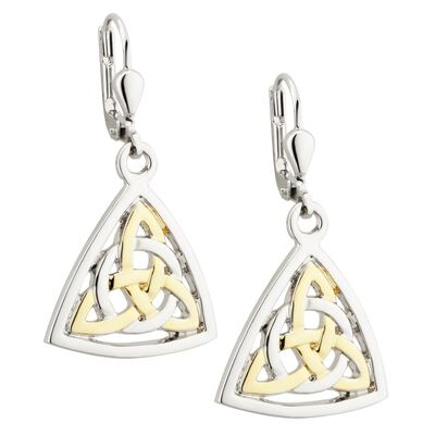 Two Tone Gold And Silver Celtic Trinity Knot Triangular Drop Earrings