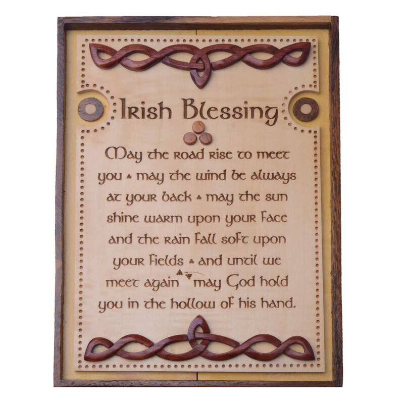 Wooden Wall Plaque With Old Irish Blessing Design