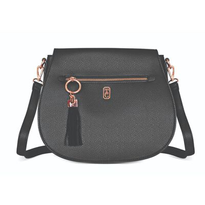 Tipperary Crystal Black Saddle Style Satchel With Rose Gold Hardware