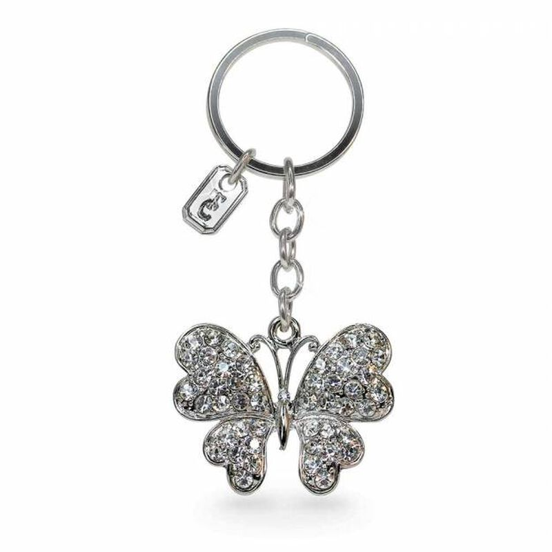 Tipperary Crystal Silver Sparkly Butterfly Charm Keychain  Comes In Gift Box