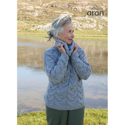 100% Merino Wool Ladies Chunk Cable Cowl Neck Sweater, Light Grey Colour