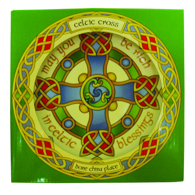 8 Ceramic Display Plate With Celtic Cross Design With Stand