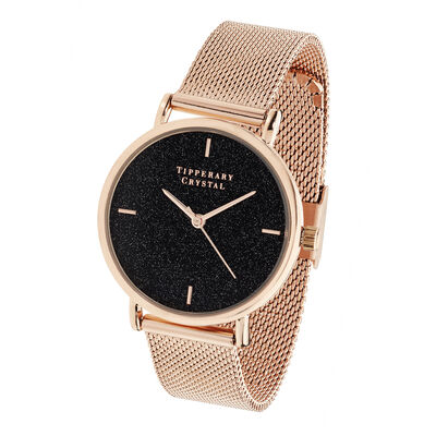 Tipperary Crystal Rose Gold Black Glitter Watch