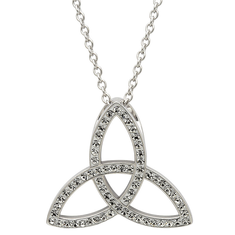 Platinum Plated Trinity Pendant With Clear Swarovski Crystals
