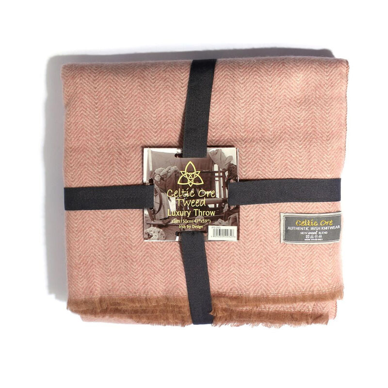 Celtic Ore Authentic Tweed Luxury Wool Blend Throw  Pink Colour
