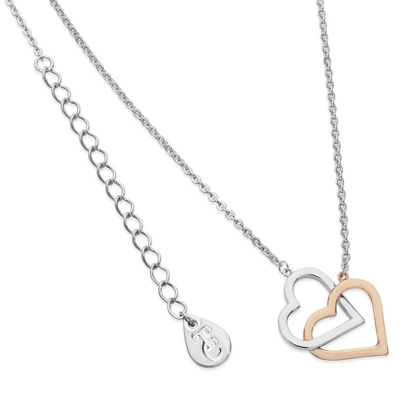 Tipperary Crystal Interlinked Two Tone Hearts Silver and Rose Gold Pendant
