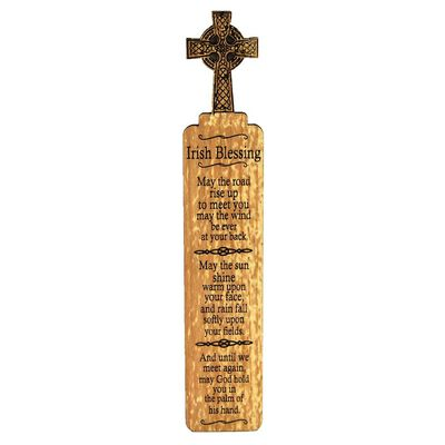 Wooden Irish Bookmark With Celtic Cross Design And Irish Blessing