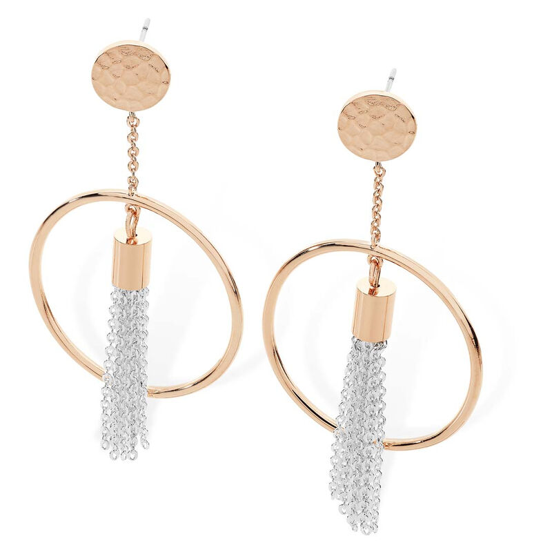 Tipperary Crystal Rose Gold Hammered Disc With Hoop and Silver Chains Earrings