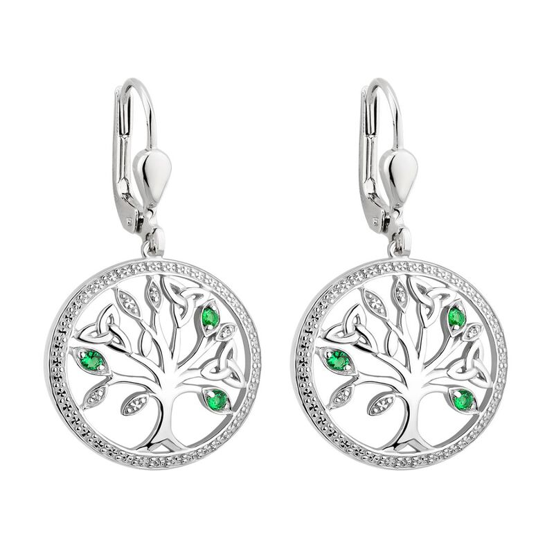 Sterling Silver Tree Of Life Earrings With Trinity Knot And Green Gem Detailing