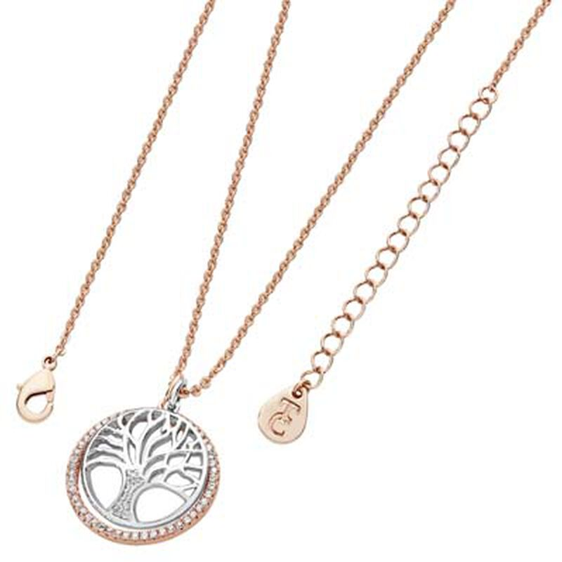 Tipperary Crystal Floating Tree Of Life Cubic Zirconia Circle Rose Gold Pendant
