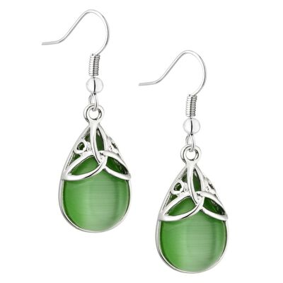 Rhodium Plated Green Oval Cat Eye Trinity Knot Designed Earrings