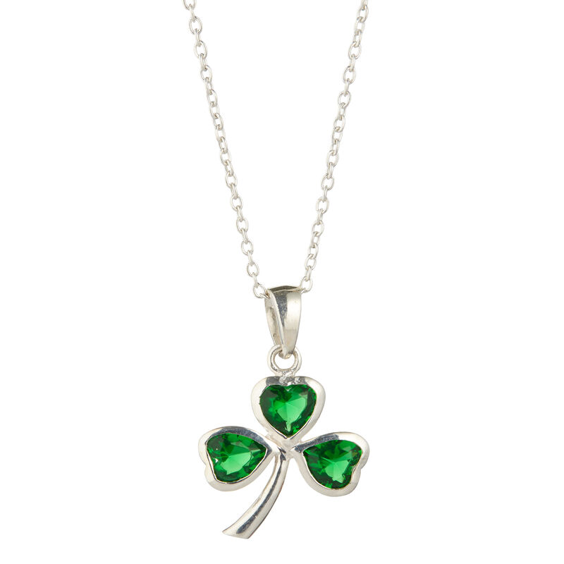 Hallmarked Sterling Silver Shamrock Pendant With 3 Emerald Cubic Zirconia Stones