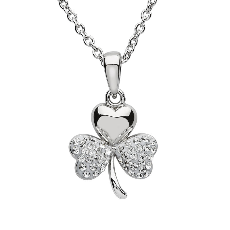 Platinum Plated Shamrock Pendant With Clear Swarovski Crystals On Two Leafs  Small