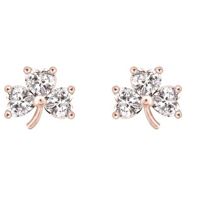 Rose Plated Shamrock Earrings With 3 Clear Crystal Stones