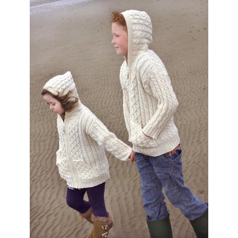 100% Merino Wool Aran Crafts Hooded Zip Cardigan With Pockets Ecru