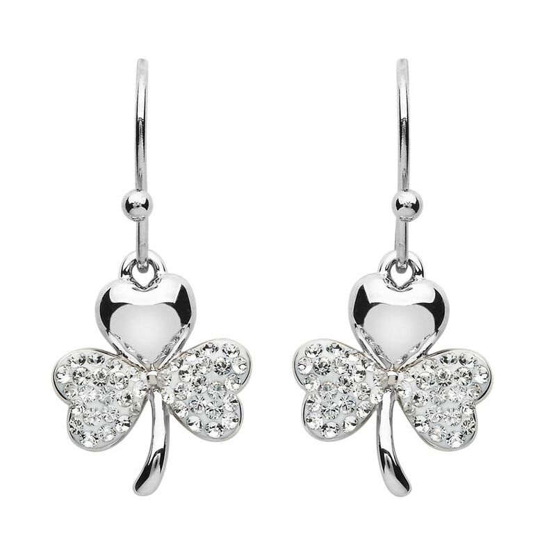 Platinum Plated Small Shamrock Leaf Drop Earrings With Clear Swarovski Crystals