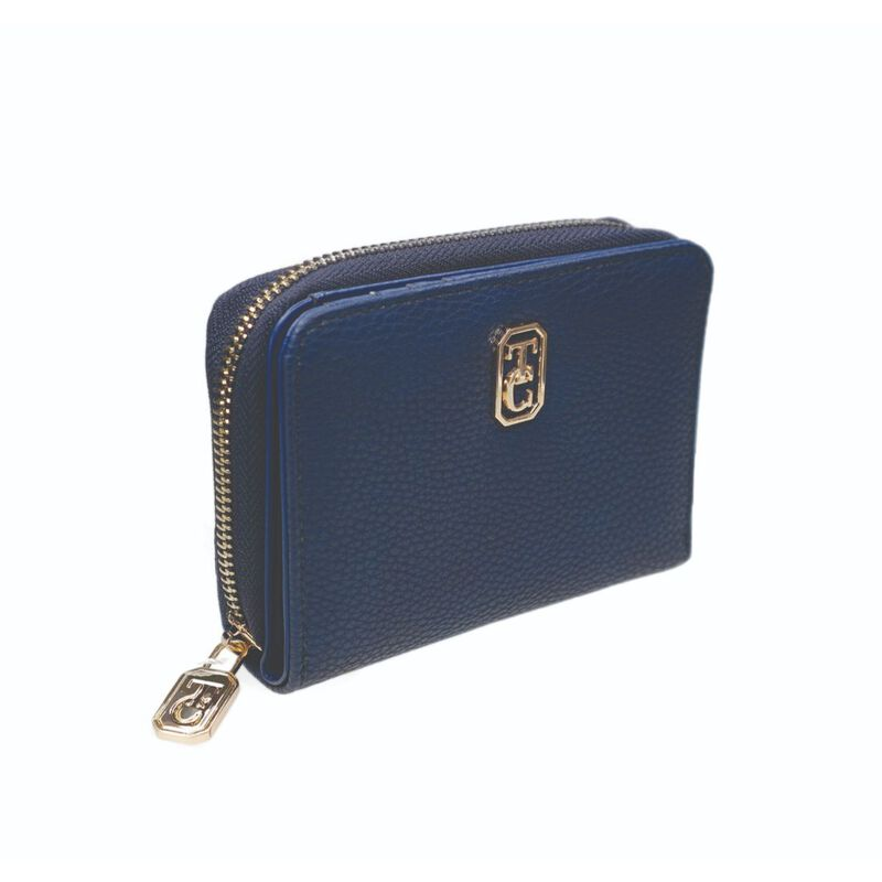 Tipperary Crystal Small Navy Ladies Zipped Wallet With Gold Hardware