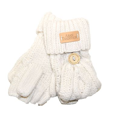 Kids Aran Knitted Cable Pattern Foldover Mittens  Cream Colour