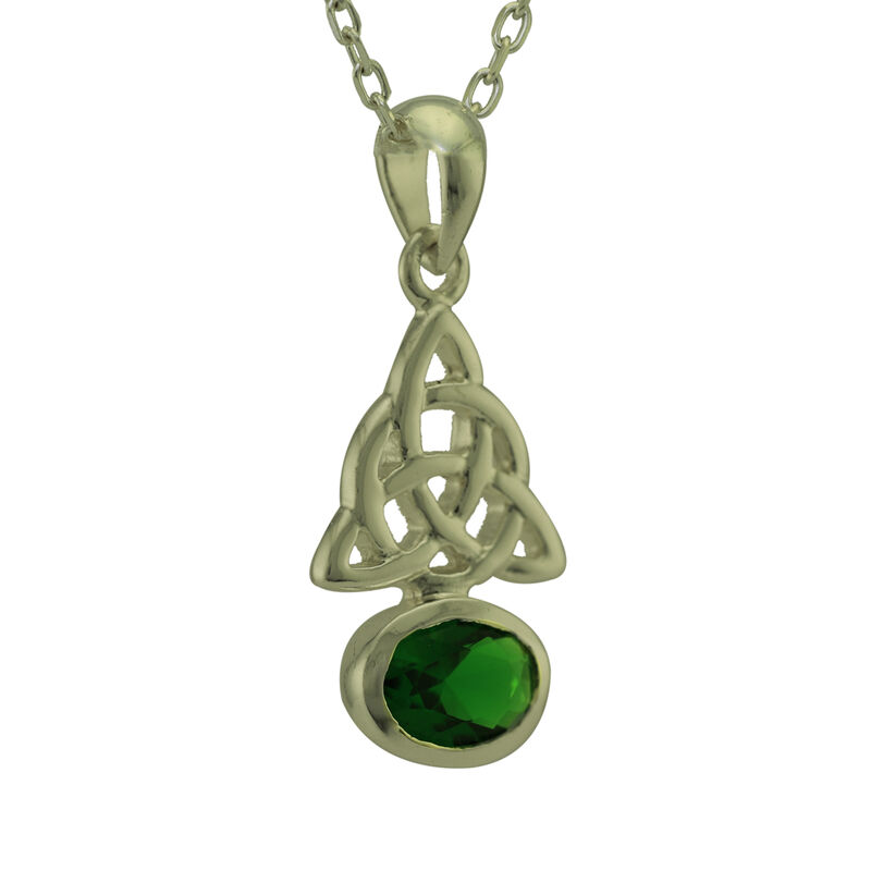 Hallmarked Sterling Silver Trinity Knot Pendant With Green Stone