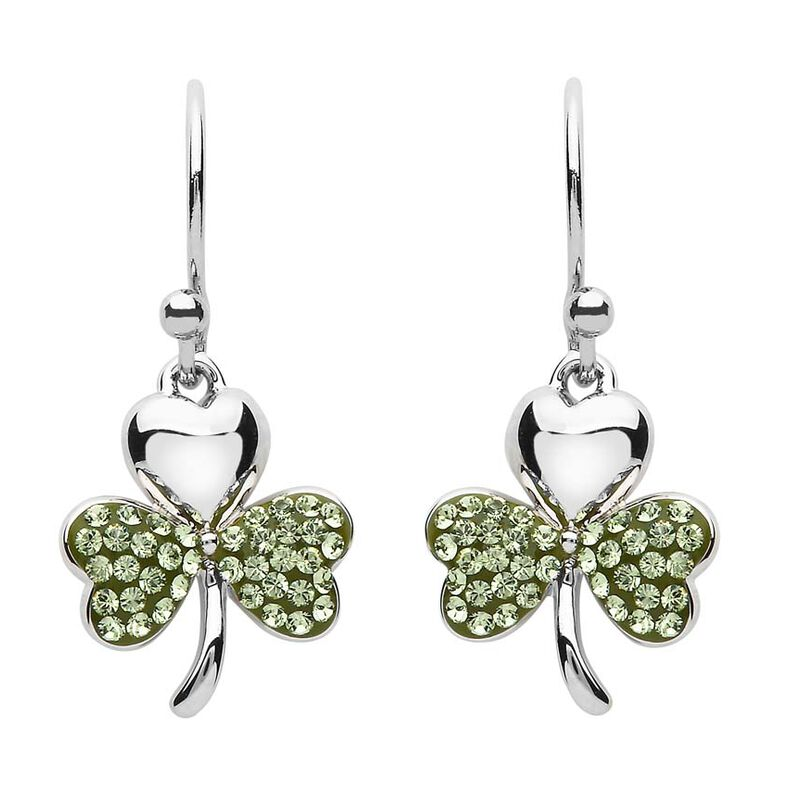 Platinum Plated Small Shamrock Leaf Drop Earrings With Peridot Swarovski Crystal