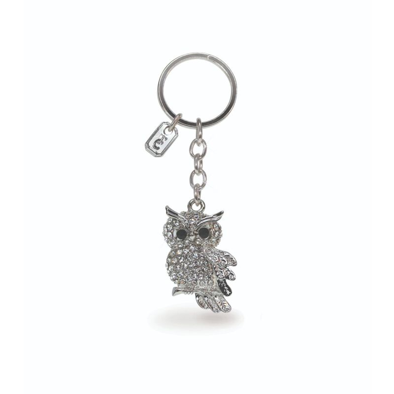 Tipperary Crystal Collection Classic Sparkly Silver Owl Keychain