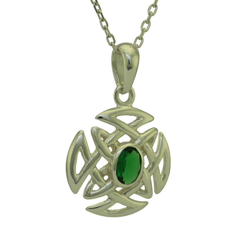 Hallmarked Sterling Silver Celtic Knot Round Shape Pendant With Green Stone