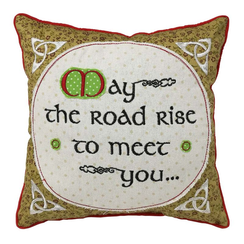 "10"" Square Patchwork Appliqué Cushion Irish Blessing  Design"