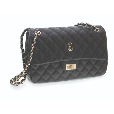 Tipperary Crystal Quilted Black Shoulder Bag With Gold Hardware