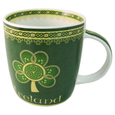 Shamrock Spiral Ireland Mug With A Green And Yellow Celtic Design