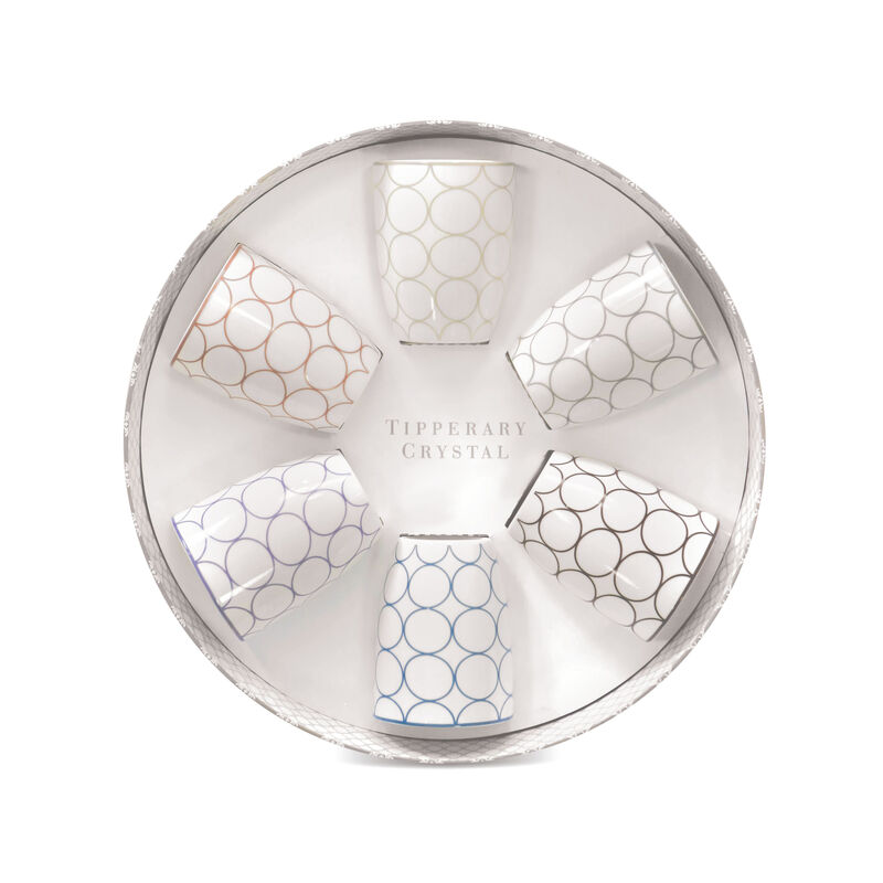 Tipperary Crystal Mugs Set With Circular Multi-Colour Design