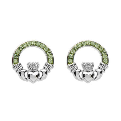Platinum Plated Claddagh Stud Earrings With Peridot Swarovski Crystals